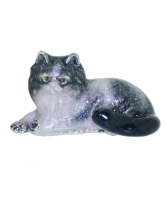 Saturno Sterling Silver and Enamel Persian Cat