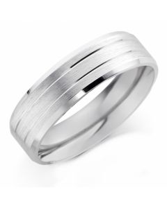 Platinum 5mm Gents Patterned Wedding Ring By Charles Green