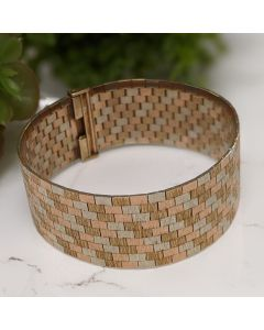 9ct Yellow, White and Red Gold Colour-brick Link Cuff