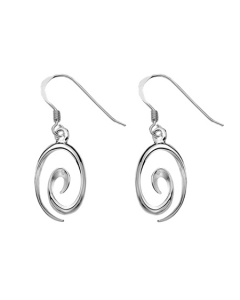 Curteis Sterling Silver Swirl Drop Earrings