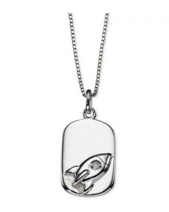 D For Diamond Boys Silver Rocket Pendant