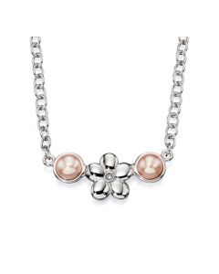 D For Diamond Pink Pearl Flower Necklace