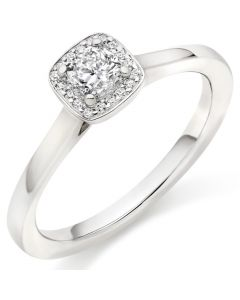 18ct White Gold 0.32ct Cushion Cut Diamond Halo Ring