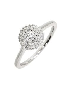 18ct White Gold Diamond Halo Ring Illusion Set