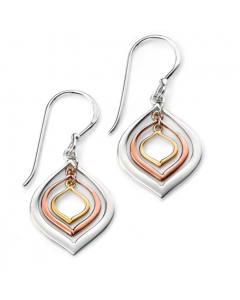 Elements Silver Triple Gold Plate Drop Earrings