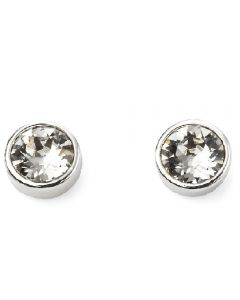 Beginnings April Birthstone Swarovski Crystal Silver Stud Earrings
