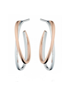 Fiorelli Double Hoop Silver and Rose Gold Plated Earrings