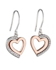Fiorelli Silver and Rose Gold Heart Hook Earrings