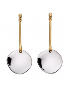 Fiorelli Disc Drop Yellow Gold Plated Silver Earrings