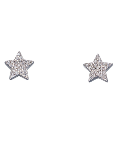 Fiorelli Silver Paved Cubic Zirconia Pave Stud Earrings