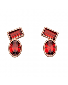 Fiorelli Red Rose Gold Plated Silver Stud Earrings