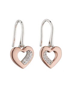 Fiorelli Silver and Rose Gold Plate Heart Drop Earrings