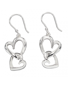 Elements Silver Layered Heart Drop Earrings