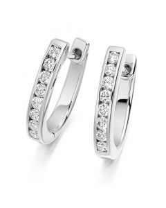 18ct White Gold 0.33ct Diamond Drop Huggie Earrings