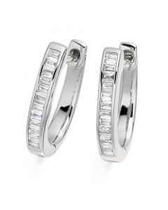 Gemex 18ct White Gold Baguette Cut Diamond Hoop Earrings
