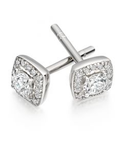 Gemex 18ct White Gold 0.30ct Diamond Square Halo Stud Earrings