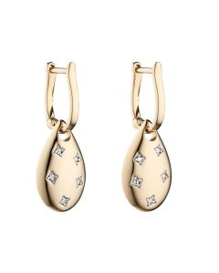Elements Gold 9ct Gold and Diamond Teardrop Earrings