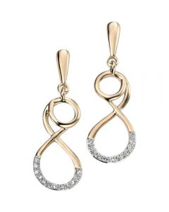 Elements 9ct Gold Twist Earrings with Diamonds