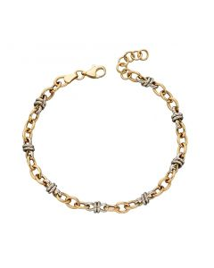 Elements Gold 9ct Gold Two Colour Multi Link Bracelet