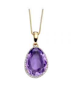 Elements Gold Amethyst and Diamond 9ct Gold Pendant on Chain