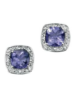 Elements Gold 9ct White Gold Earrings with Iolite and Diamonds product image