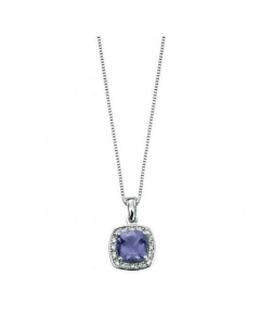 Elements Gold Pendant with Cushion Cut Iolite featuring Pave Diamond Surround