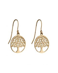 Elements Gold 9ct Gold Tree Of Life Earrings
