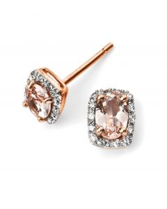 Elements Gold Rose Gold Morganite and Diamond Earrings