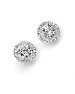 Elements Silver Cubic Zirconia Halo Studs