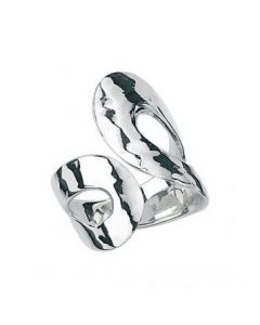 Elements Silver Open Loop Hammered Ring