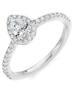 9ct White Gold 0.53ct Pear Shaped Diamond Halo Ring