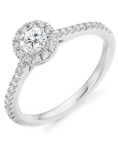 18ct White Gold 0.55ct Diamond Halo Engagement Ring