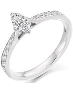 18ct White Gold 0.63ct Marquise Diamond Solitaire Engagement Ring