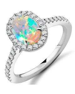 18ct White Gold Opal and Diamond Halo Cluster Ring