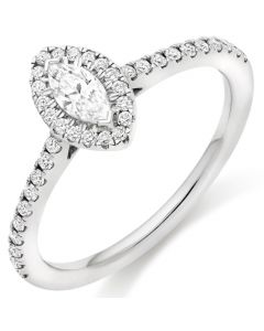 9ct White Gold 0.50ct Marquise Diamond Halo Ring