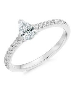 Platinum 0.53ct Diamond Pear Shaped Solitaire Engagement Ring