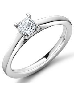9ct White Gold 0.32ct Cushion Cut Diamond Engagement Ring