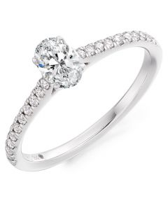 Gemex Platinum 0.50ct Oval Diamond Engagement Ring With Diamond Shoulders