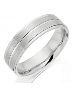 Platinum 5mm Brushed and Polished Wedding Ring By Charles Green
