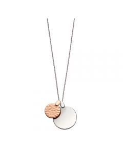 Fiorelli Silver and Rose Gold Overlapping Disc Pendant