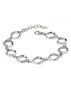 Fiorelli Silver and Cubic Zirconia Ribbon Bracelet