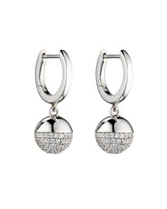 Fiorelli Silver Hoop and Pave Set Ball Earrings
