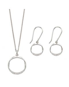 Fiorelli Silver Open Circle Earrings & Necklace Set