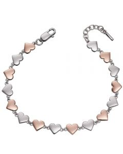 Fiorelli Silver and Rose Gold Plate Heart Tennis Bracelet