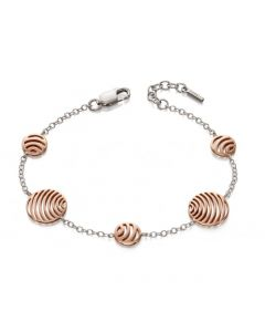 Fiorelli Silver and Rose Gold Cutout Circle Bracelet
