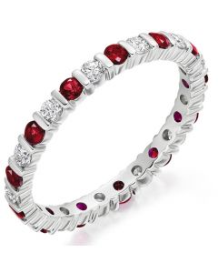 Gemex Ruby and Diamond Eternity Ring  (sizes D-Q)