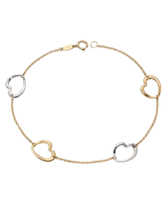 Elements Gold Open Heart and Chain Link Bracelet