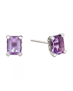 Elements Gold 9ct White Gold Amethyst Rectangle Stud Earrings