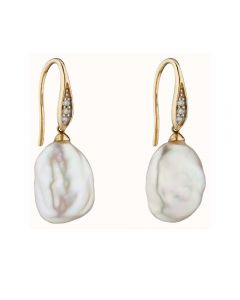 Elements Gold Baroque Pearl and Diamond Drop Earrings