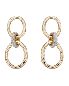 Elements Gold Diamond and 9ct Yellow Gold Connector Earrings